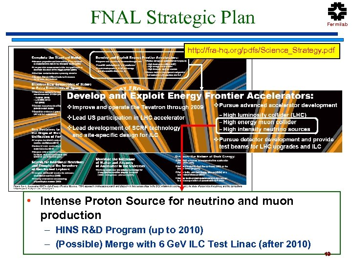 FNAL Strategic Plan Fermilab http: //fra-hq. org/pdfs/Science_Strategy. pdf • Intense Proton Source for neutrino