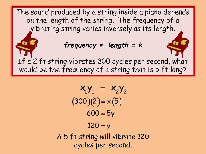 The sound produced by a string inside a piano depends on the length of