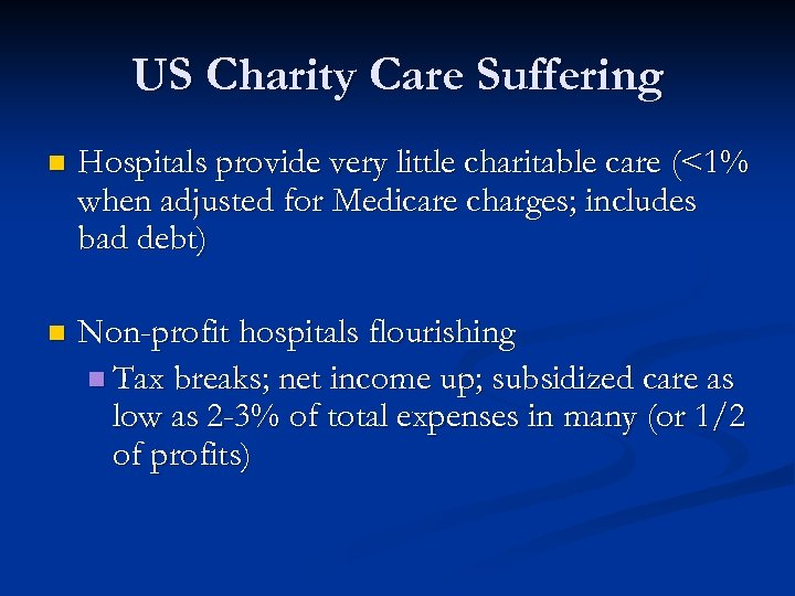US Charity Care Suffering n Hospitals provide very little charitable care (<1% when adjusted