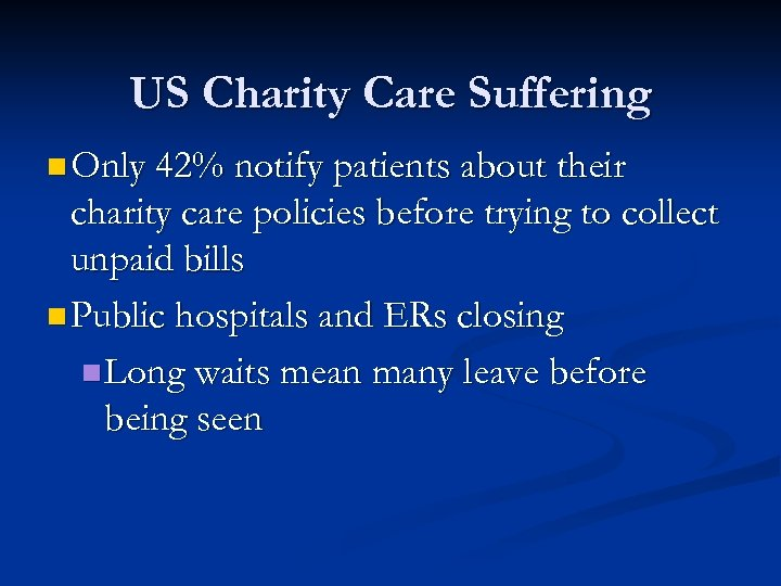 US Charity Care Suffering n Only 42% notify patients about their charity care policies