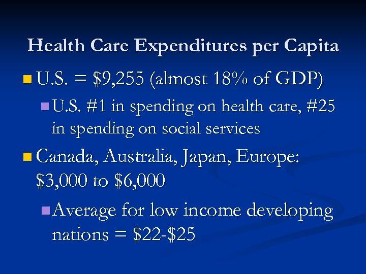 Health Care Expenditures per Capita n U. S. = $9, 255 (almost 18% of