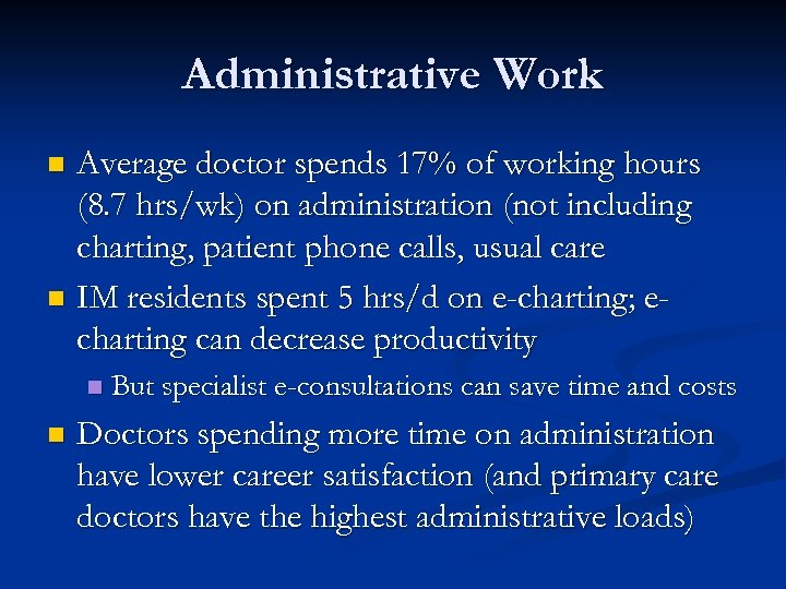 Administrative Work Average doctor spends 17% of working hours (8. 7 hrs/wk) on administration