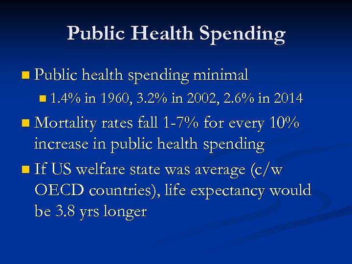 Public Health Spending n Public health spending minimal n 1. 4% in 1960, 3.