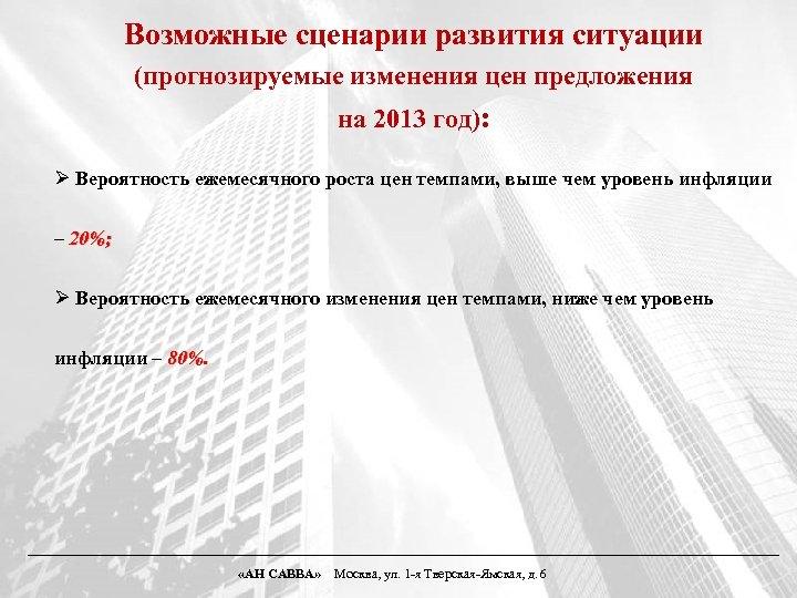 Возможные сценарии развития ситуации (прогнозируемые изменения цен предложения на 2013 год): Ø Вероятность ежемесячного