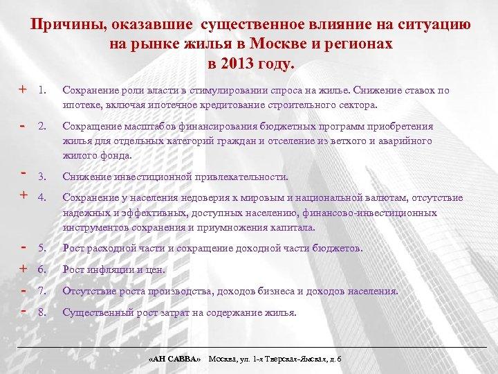 Причины, оказавшие существенное влияние на ситуацию на рынке жилья в Москве и регионах в