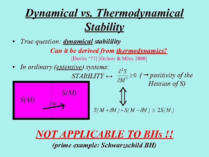 Dynamical vs. Thermodynamical Stability • True question: dynamical stabilility Can it be derived from