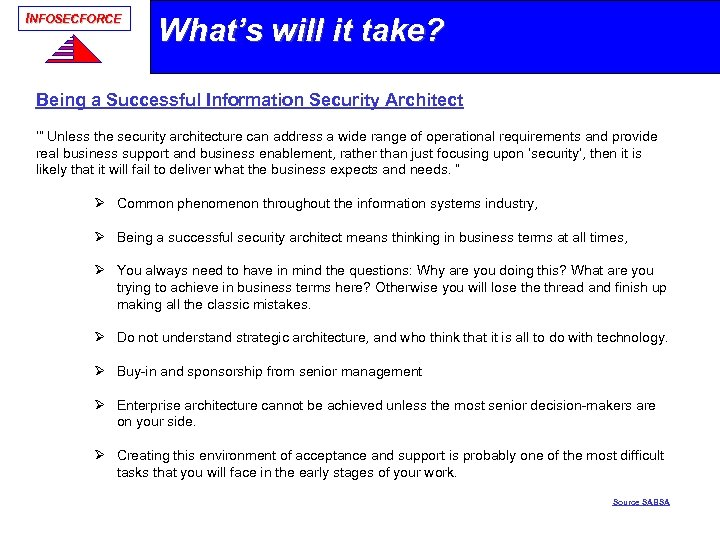 "INFOSECFORCE What's will it take? Being a Successful Information Security Architect '"" Unless the"