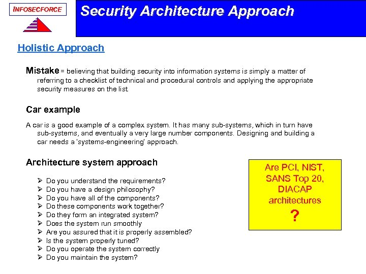 INFOSECFORCE Security Architecture Approach Holistic Approach Mistake = believing that building security into information