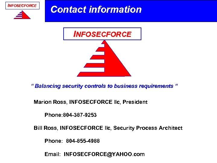 """INFOSECFORCE Contact information INFOSECFORCE Application Security 15 Sept 2008 """" Balancing security controls to"""
