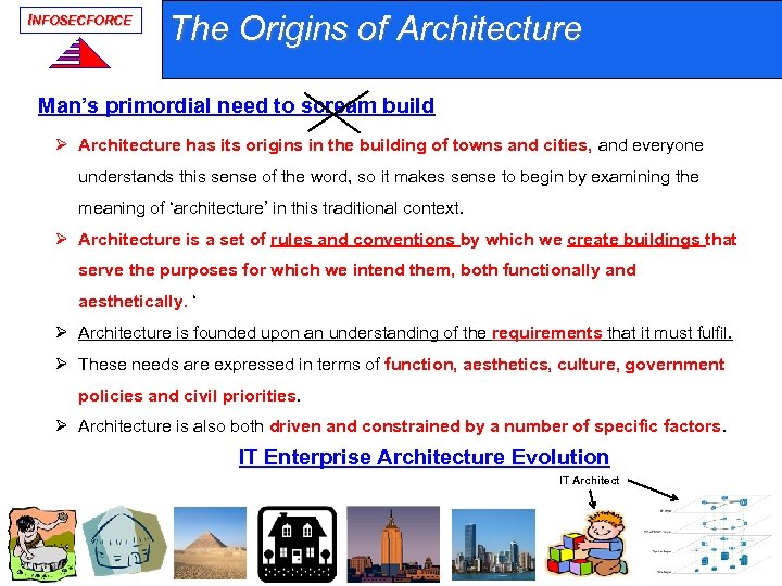 INFOSECFORCE The Origins of Architecture Man's primordial need to scream build Ø Architecture has