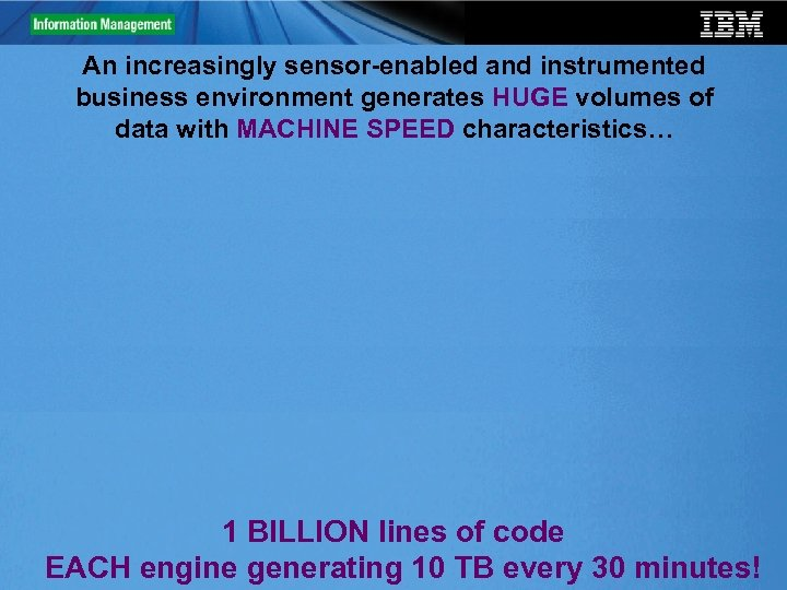 An increasingly sensor-enabled and instrumented business environment generates HUGE volumes of data with MACHINE