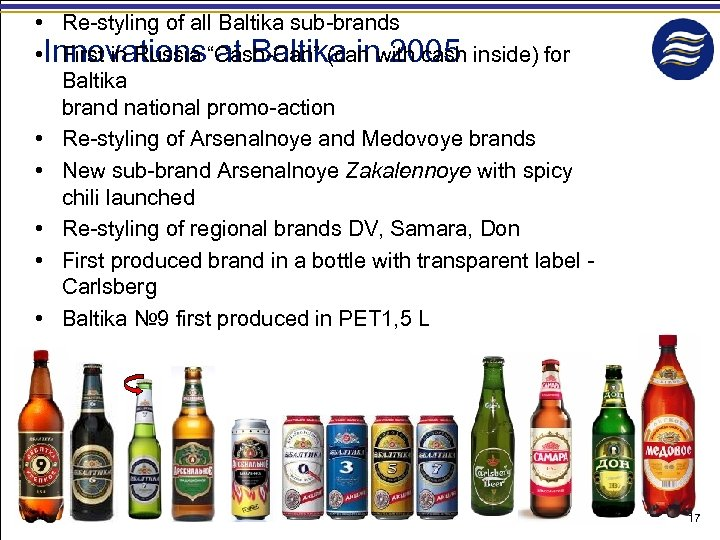 """• Re-styling of all Baltika sub-brands • Innovations""""Cash-Can"""" (can with cash inside) for"""
