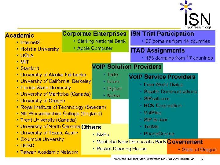 ISN http: //freenum. org/ Academic • • • • • Corporate Enterprises ISN Trial