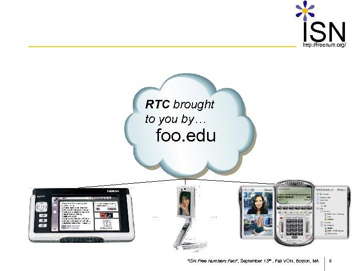 "ISN http: //freenum. org/ RTC brought to you by… foo. edu … … ""ISN"