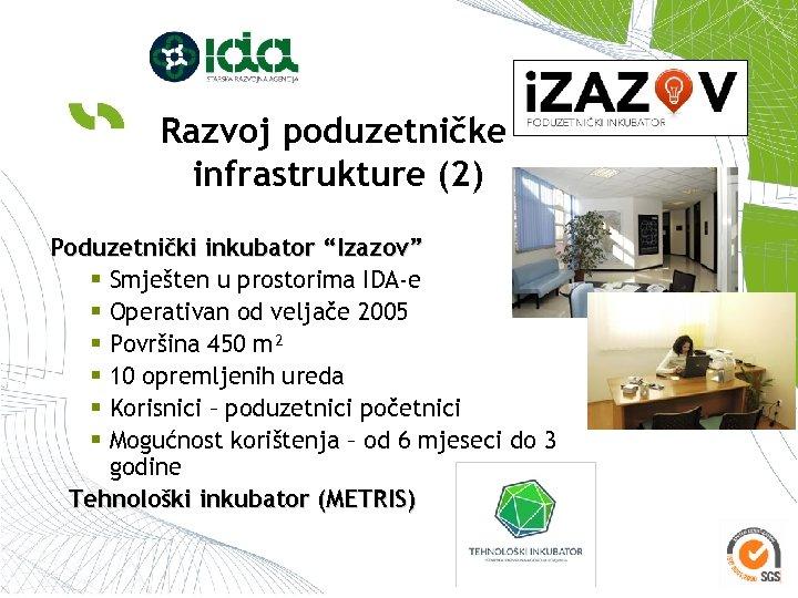 """Razvoj poduzetničke infrastrukture (2) Poduzetnički inkubator """"Izazov"""" § Smješten u prostorima IDA-e § Operativan"""