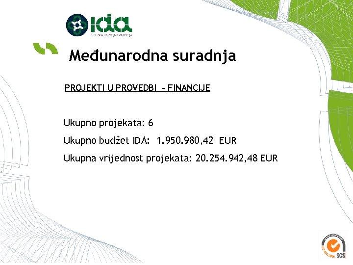 Međunarodna suradnja PROJEKTI U PROVEDBI - FINANCIJE Ukupno projekata: 6 Ukupno budžet IDA: 1.