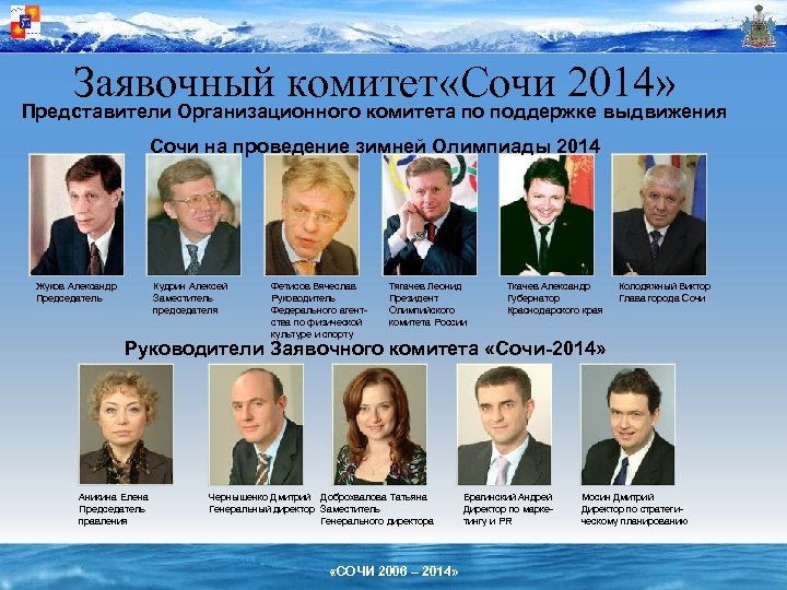 Заявочный комитет «Сочи 2014» Представители Организационного комитета по поддержке выдвижения Сочи на проведение зимней