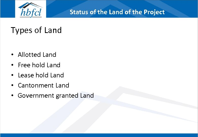 Status of the Land of the Project Types of Land • • • Allotted
