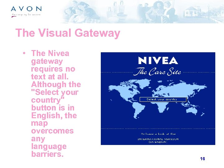 The Visual Gateway • The Nivea gateway requires no text at all. Although the