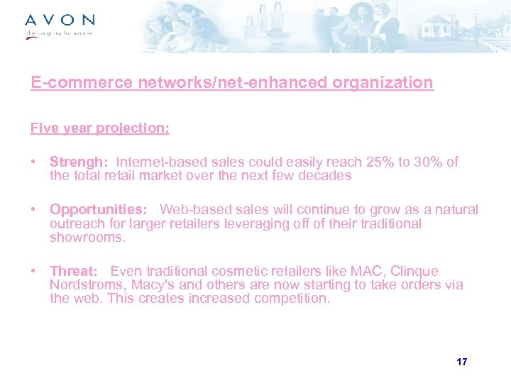 E-commerce networks/net-enhanced organization Five year projection: • Strengh: Internet-based sales could easily reach 25%