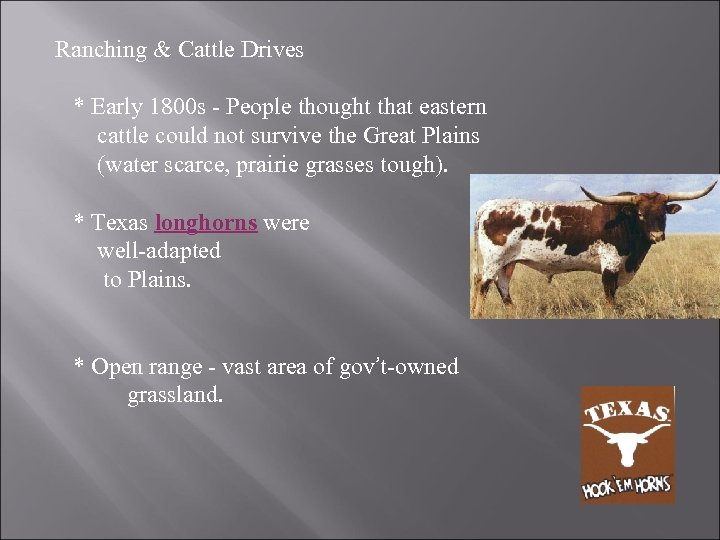 Ranching & Cattle Drives * Early 1800 s - People thought that eastern cattle