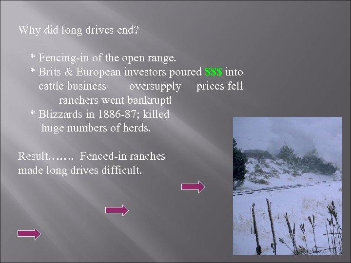 Why did long drives end? * Fencing-in of the open range. * Brits &