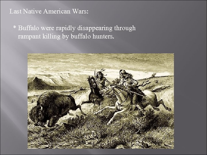 Last Native American Wars: * Buffalo were rapidly disappearing through rampant killing by buffalo