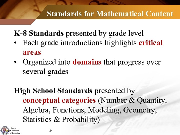 Standards for Mathematical Content K-8 Standards presented by grade level • Each grade introductions