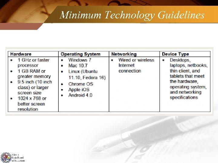 Minimum Technology Guidelines