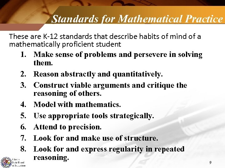 Standards for Mathematical Practice These are K-12 standards that describe habits of mind of