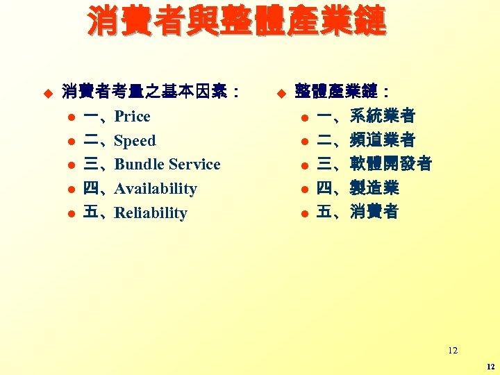 消費者與整體產業鏈 u 消費者考量之基本因素: l 一、Price l 二、Speed l 三、Bundle Service l 四、Availability l 五、Reliability