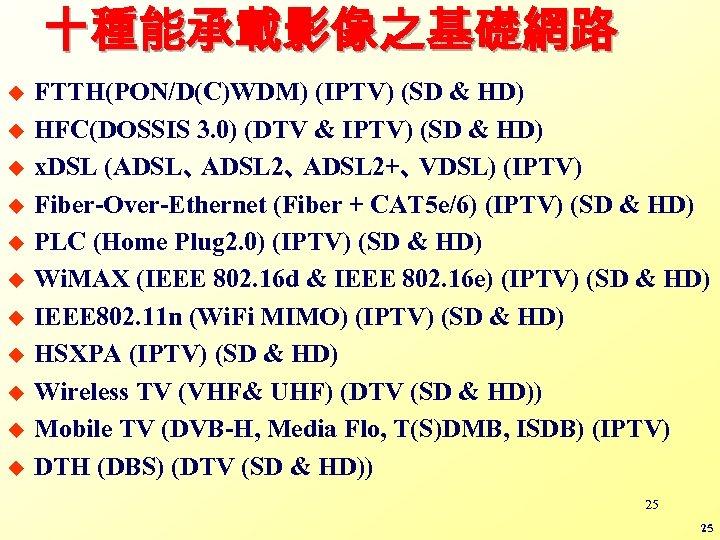 十種能承載影像之基礎網路 u u u FTTH(PON/D(C)WDM) (IPTV) (SD & HD) HFC(DOSSIS 3. 0) (DTV &