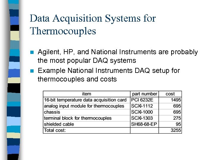 Data Acquisition Systems for Thermocouples Agilent, HP, and National Instruments are probably the most