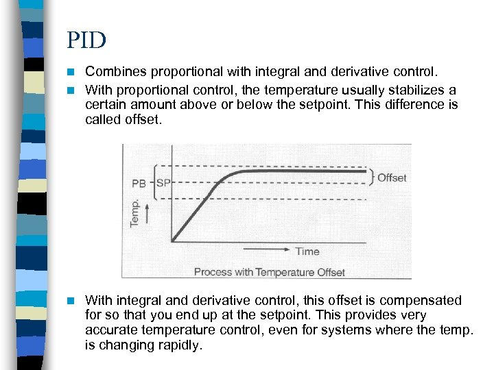 PID Combines proportional with integral and derivative control. n With proportional control, the temperature