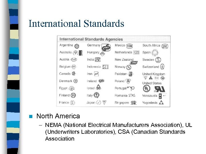 International Standards n North America – NEMA (National Electrical Manufacturers Association), UL (Underwriters Laboratories),