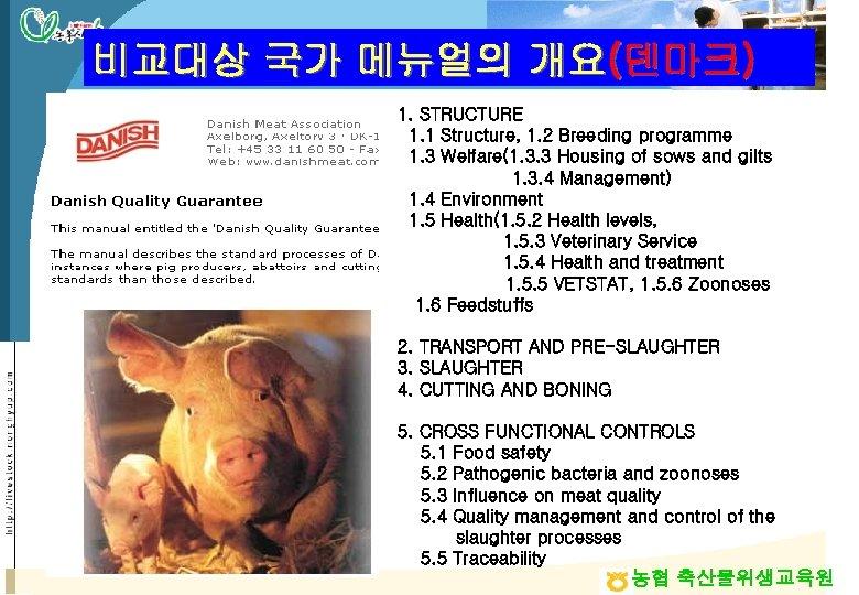 비교대상 국가 메뉴얼의 개요(덴마크) 1. STRUCTURE 1. 1 Structure, 1. 2 Breeding programme 1.