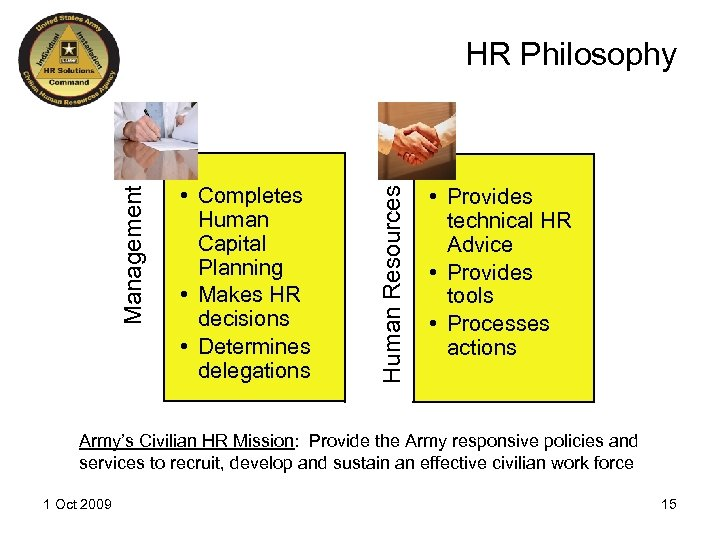 • Completes Human Capital Planning • Makes HR decisions • Determines delegations Human