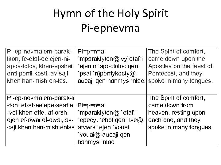 Hymn of the Holy Spirit Pi-epnevma Pi-ep-nevma em-parakliton, fe-etaf-ee ejen-niapos-tolos, khen-epshai enti-penti-kosti, av-saji khen