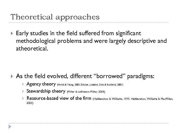 Theoretical approaches Early studies in the field suffered from significant methodological problems and were