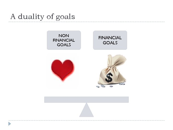 A duality of goals NON FINANCIAL GOALS