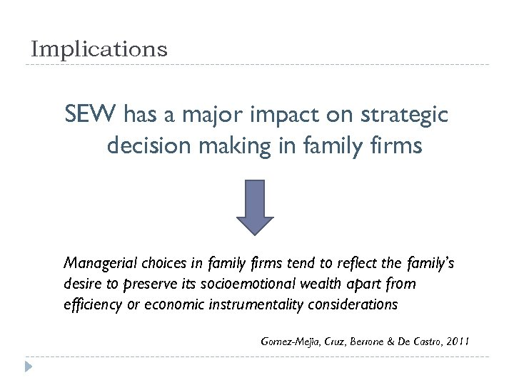 Implications SEW has a major impact on strategic decision making in family firms Managerial