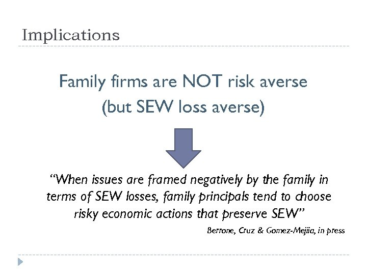"""Implications Family firms are NOT risk averse (but SEW loss averse) """"When issues are"""