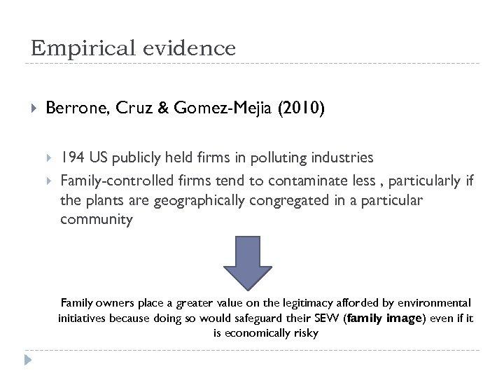 Empirical evidence Berrone, Cruz & Gomez-Mejia (2010) 194 US publicly held firms in polluting