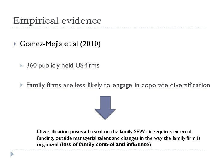 Empirical evidence Gomez-Mejia et al (2010) 360 publicly held US firms Family firms are