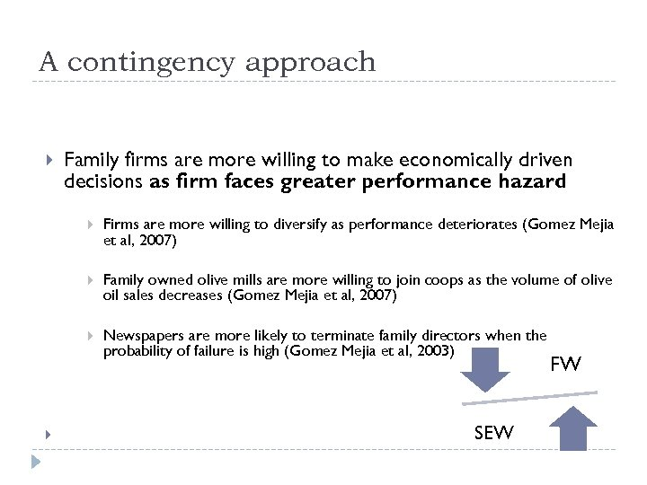 A contingency approach Family firms are more willing to make economically driven decisions as