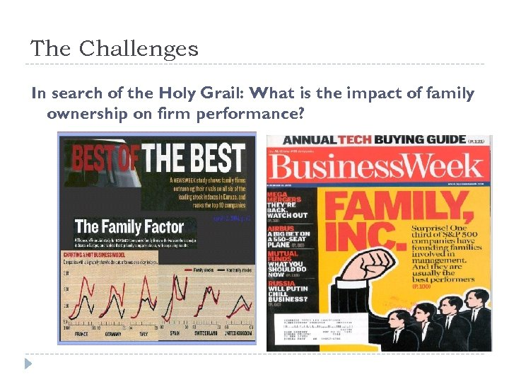 The Challenges In search of the Holy Grail: What is the impact of family