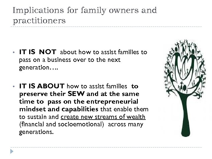 Implications for family owners and practitioners • IT IS NOT about how to assist