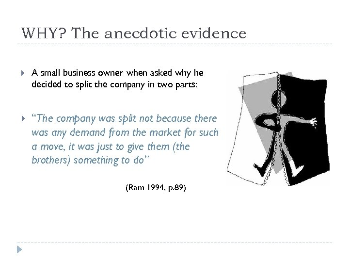 WHY? The anecdotic evidence A small business owner when asked why he decided to