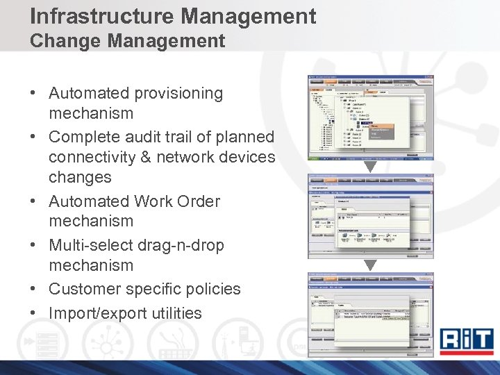 Infrastructure Management Change Management • Automated provisioning mechanism • Complete audit trail of planned
