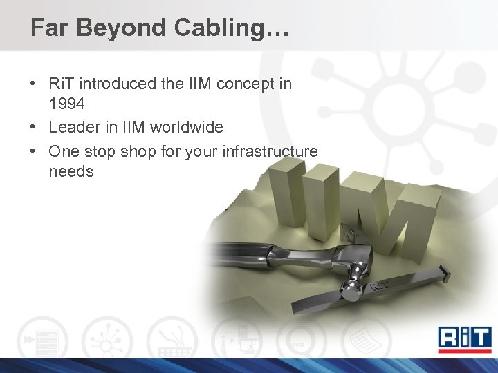 Far Beyond Cabling… • Ri. T introduced the IIM concept in 1994 • Leader
